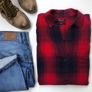 Madewell Classic Ex Boyfriend Red Plaid Button Up